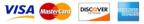 Visa, Mastercard, Discover, American Express card logos