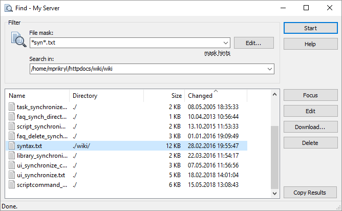 Find Dialog :: WinSCP