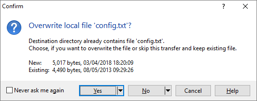 Sftp overwrite existing file