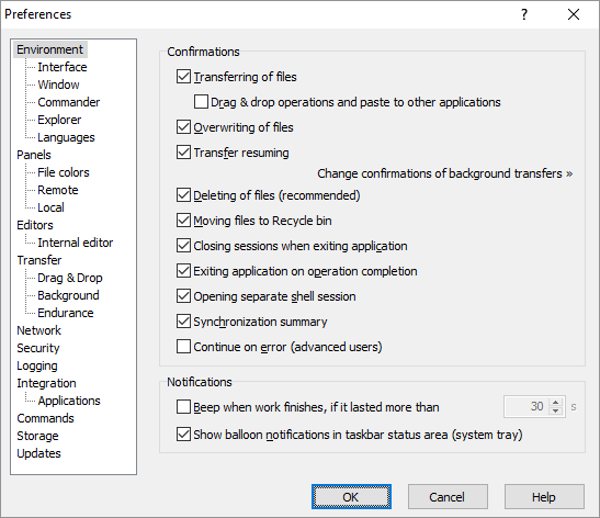 Environment Page (Preferences Dialog) :: WinSCP