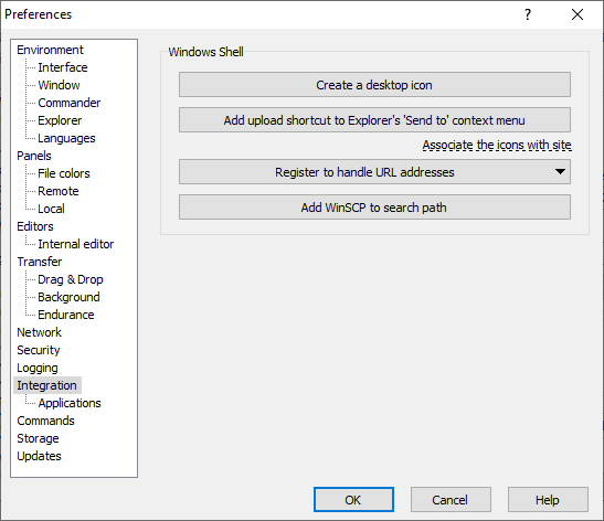 Integration Page (Preferences Dialog) :: WinSCP